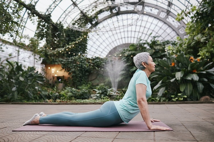 old woman yoga exercise